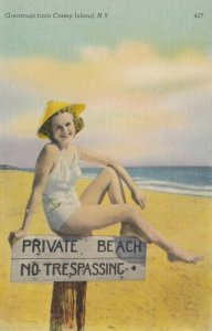 CONEY ISLAND , NYC , 1930-40s ; Girl on Beach