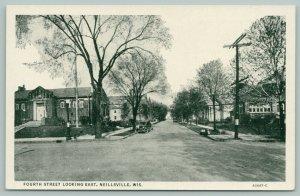 Neillsville Wisconsin~Fourth Street Homes~Boys on Curb~1920s Cars~B&W Postcard