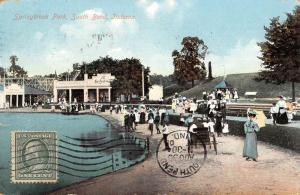 South Bend Indiana Springbrook Park Waterfront Antique Postcard K68013