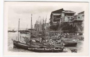 Produce Boats Panama 1950s RPPC real photo postcard