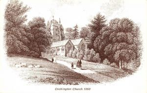 Postcard Art Sketch of COCKINTON Church In 1860 Torquay DEVON