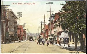 Pottsville PA Centre Street View Trolley Horse & Wagon Storefronts Postcard