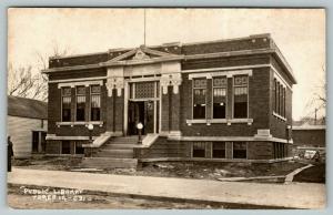 Traer Iowa~Carnegie Public Library~Finishing up Construction~1916 RPPC