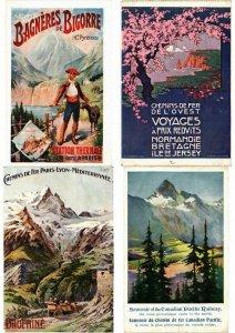 PUBLICITÉ ADVERTISING TRAINS, CHEMIN DE FER POSTER STYLE 28 CPA (L2734)