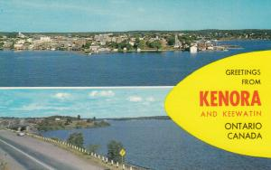 KENORA , Ontario , 50-60s ; Kenora Waterfront (top) & Trans-Canada Highway