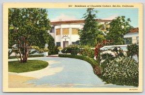 Bel-Air California~Claudette Colbert Residence~Movie Star Mansion~1938 Linen PC