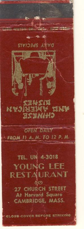 Cambridge, Mass/MA Matchcover, Young Lee Chinese Restaurant