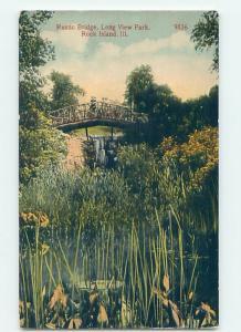 Divided-Back BRIDGE SCENE Rock Island Illinois IL H9142