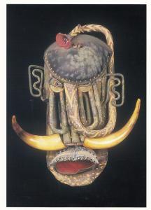 David Kemp Ganesha Primitive Art Cow Horns Africa Tribal Mask Painting Postcard