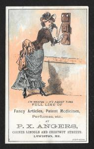 VICTORIAN TRADE CARD Angers Fancy Articles Medicines Phone
