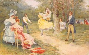 The Picnic~Victorians on Waterfront~Elegant Young Ladies~Tree Swing~1912 PC