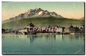 Postcard Old Post und Pilatus Luzern Behnhot