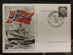 1941 Berlin Germany Patriotic Postcard cover Navy our flags is the victory
