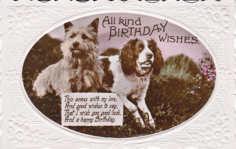 RP BIRTHDAY Wishes Poem Cocker Spaniel Scottish Terrier Dogs 00 10s