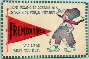 1917 FREMONT Nebraska Greetings Postcard Felt Pennant / Dutch Boy Smoking Cigar