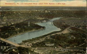 Philadelphia PA From Hot Air Balloon 1914 Used Postcard
