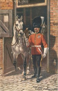 Harry Payne. The Royal Scots Greys , File Out. Troo . Horses Tuck Oilette PC #