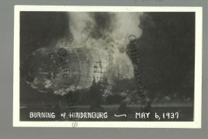 Lakehurst NEW JERSEY RPPC 1937 HIDENBURG DISASTER Fire ZEPPELIN Airship FLAMES!