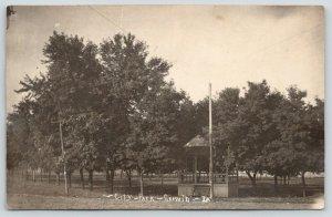 Garwin Iowa~City Park~Flag Pole by Band Stand~c1910 Real Photo Postcard~RPPC