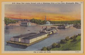 Minneapolis, Minn, Barge Fleet at the locks of the Mississippi @ Ford Plant-1952