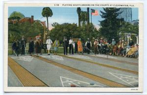 Playing Shuffleboard Clearwater Florida 1920s postcard
