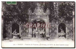 Old Postcard Nancy Neptune fountain by Guibal and grid Jean Lamour