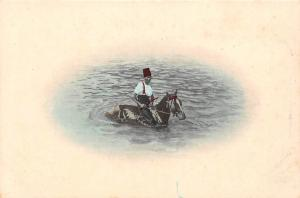 South Africa native man riding horse cheval in water (Cape Town?)