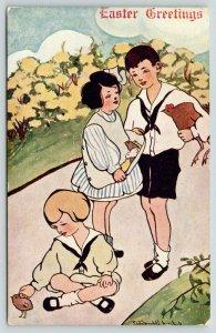 Sadie Wendell Mitchell Easter~Hen Under Boy's Arm~Chicks in Girl Apron~Flowers