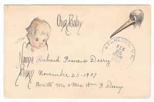 Birth Announcement Postcard Baby and Stork Richard F Deery