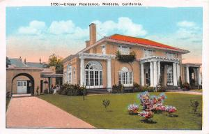 Cressy Residence, Modesto, California, Early Postcard, unused