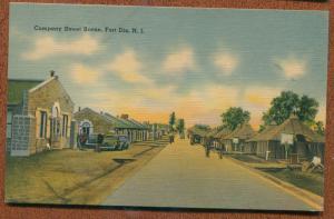 Fort Dix New Jersey nj Company Street Army huts houses cars men linen postcard