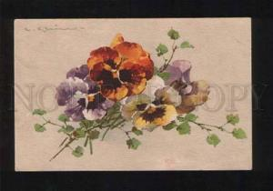 053879 Bouquet PANSY flowers by C. KLEIN vintage PC
