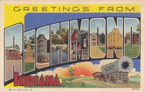 Greetings from Richmond, Indiana, showing city monuments, Indiana, 1930-40s