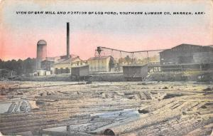 Warren Arkansas Southern Lumber Co Saw Mill and Log Pond Postcard JE228840