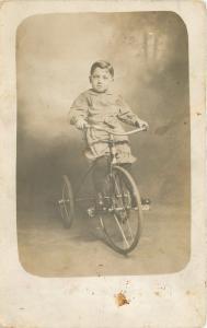 Lil Boy Sits High And Pedals Big Vintage Tricycle~1912 Real Photo Postcard~RPPC