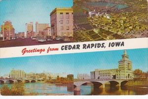 Iowa Greetings From Cedar Rapids Showing First Avenue Quaker Oats Plant &...