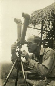 indonesia, JAVA, Volcanologist Dr. Hartmann observes Merapi Volcano (1930s) RPPC