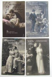 Deutsche WWI Ära Lot Of 4 Romantische Antik Echt Foto Postkarten RPPC W /