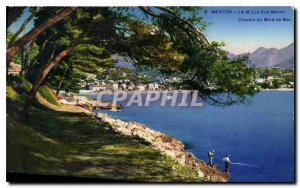 Old Postcard Menton AM Cap Martin Way from the sea walk