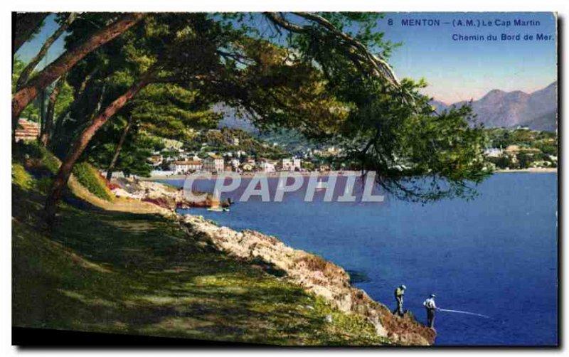Old Postcard Menton AM Cap Martin Way from the sea walk