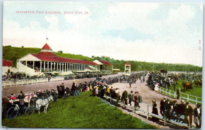 Sioux City, Iowa Postcard INTERSTATE FAIR GROUNDS Horse Racing Track Scene 1910s