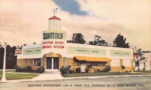 Kristine's Restaurant, Lake Worth, Florida, Early Linen Postcard, Unused