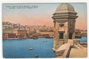 Grand Harbour Valletta Malta 1910c postcard
