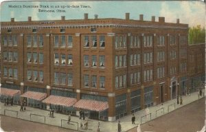 Modern Business Block in an up-to-date Town Ravenna Ohio, 1913 Vintage Postcard