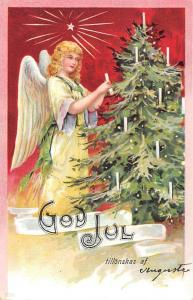 God Jul! Merry Christmas! Angel Decorating Tree 1904
