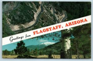 Postcard AZ Banner Dual View Greetings From Flagstaff Vintage O08