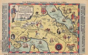 Williamsburg to Yorktown , Virginia , 1930-40s ; Map