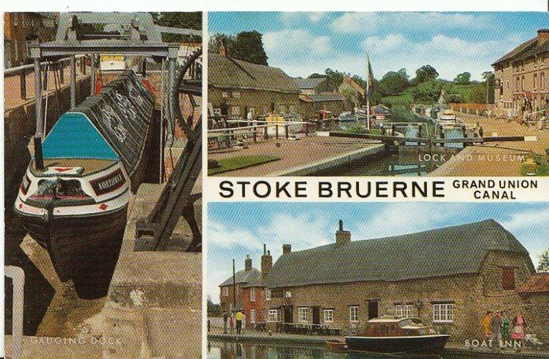 Northamptonshire Postcard - Views of Stoke Bruerne - Grand Union Canal  U581