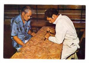 Maori Master & Student carvers, Whakarewarewa. Rotorua, New Zealand, 50-70s