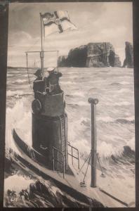 Mint WW 1 Imperial German Navy U Boat Submarine Picture Postcard Vigilance tower